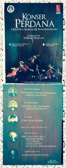 Konser perdana orkestra Syimphoni ISI padangpanjang dengan konduktor YUSBAR JAILANI, Jumat 7 Februari 2013 pukul 20.00 WIB di GP Hoerijah Adam.