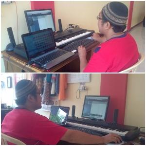 Ronaldo Rozalino di Meja Rekaman Membuat Komposisi Musik Pengiring Tari