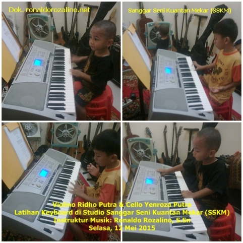 Violino Ridho Putra Cello Yenroza Putra Latihan Keyboard di Studio Sanggar Seni Kuantan Mekar SSKM Instruktur Musik Ronaldo Rozalino SSn Selasa 12 Mei 2015